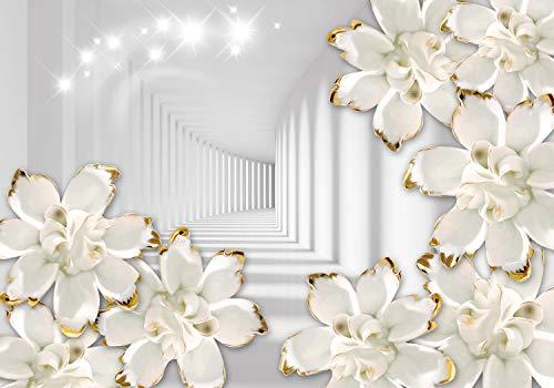 wandmotiv24 Fototapete Tunnel Gold , M 250 x 175 cm - 5 Teile, Fototapeten, Wandbild, Motivtapeten, Vlies-Tapeten, 3D Weiß, Blumen M1806