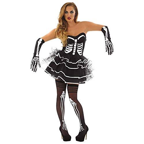 Fun Shack Schwarzes sexy Skelett Kleid Kostüm für Damen, Halloween und Karneval - M