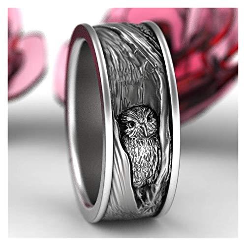 3°Amy Anillo Búho Anillo De Búho Tallado Vintage para El Anillo Negro del Tamaño del Dedo De Las Mujeres De Los Hombres (Main Stone Color : Owl Ring, Ring Size : 8)