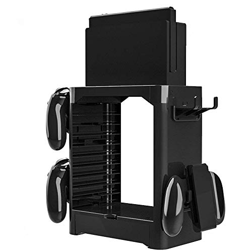 HIOTECH Multi-Function Switch Game Stand for Nintendo Switch Game Storage, Tower Holder Stand Shelf for Switch Game Disc Card Switch Console Host Switch Controller Switch Accessories
