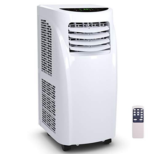 COSTWAY Climatizzatore Condizionatore Portatile Raffreddatore d Aria, con Telecomando, Impostazione tempo, Silenzioso, Raffreddatore, Deumidificatore, Ventilatore, 20㎡, Bianco