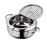 Controllable Temperature Mini Stainless Steel Tempura Fryer Frying Pot Non-stick With Thermometer And Oil Drip Rack Lid for Chicken French Fries Fish and Shrimp Oil Frying (3400ML)