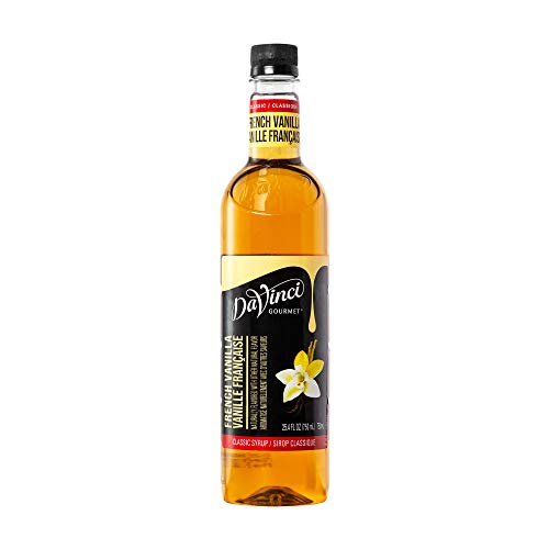 DaVinci Gourmet Classic Coffee Syrup, French Vanilla, 25.4 Fluid Ounce (Pack of 4), Flavored Sweetener Syrup for Espresso Drinks, Tea, Other Beverages, Suited for Home, Café, Restaurant, Coffee Shop