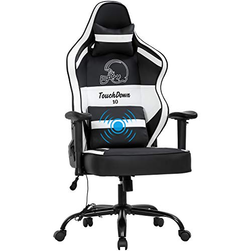 Gaming Chair Big and Tall Office Chair 500lb Wide Seat Desk Chair with Lumbar Support Headrest 2D Arms Task Swivel Ergonomic PU Adjustable Massage Racing Computer Chair for Adults Gamer(Black)