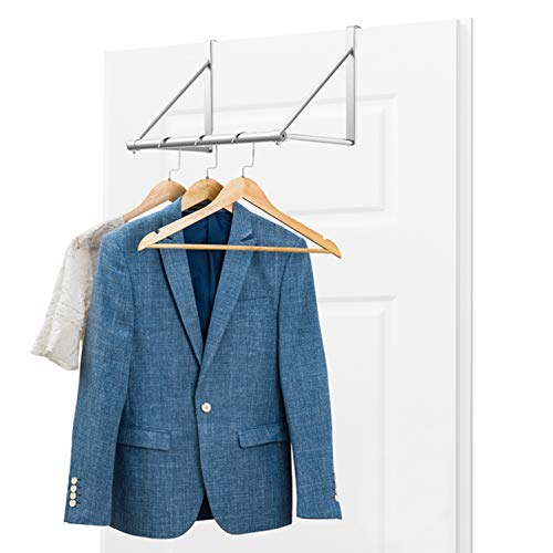 Auledio Over The Door Closet Rod Heavy-Duty Over The Door Hanger Clothes Organizer Rack for Towel Home and Dorm Room Storage and Organization