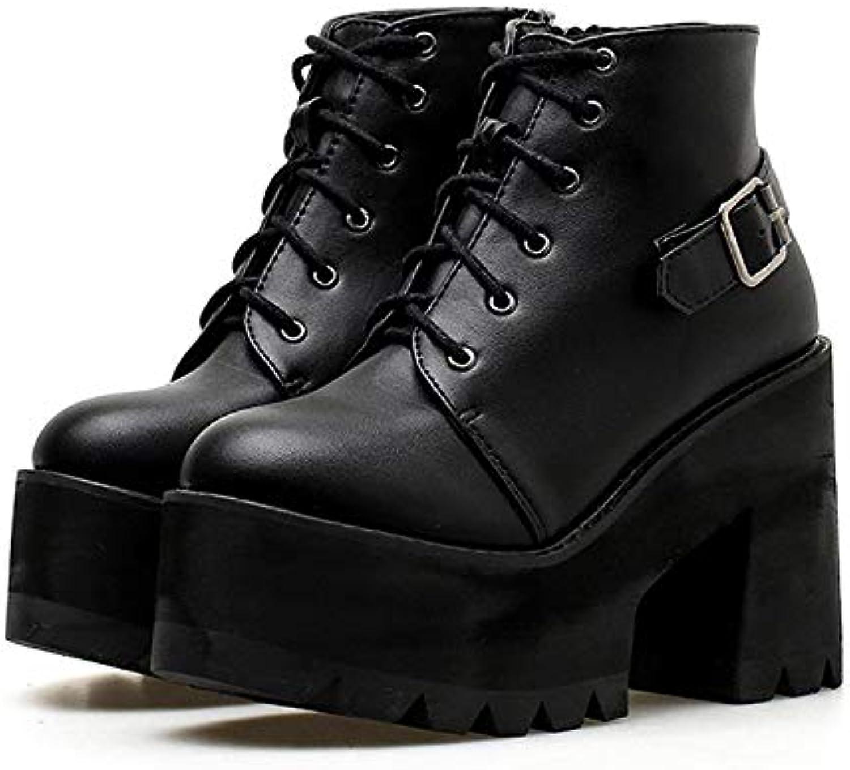 LFLXUE Frühling Schwarz Ankle Stiefelies Schuhe Frauen Runde Kappe Plattform Herbst Stiefel Starke High Heels Schnüren Und Schnalle Damen Schuhe