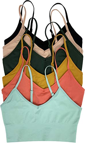 ToBeInStyle Women's Pack of 6 Y-Back RacerbackNon Padded Sports Bras - Elongated Pastel - OS