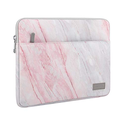 MoKo Laptop Sleeve Case Fits 12.3 Inch Surface Pro 7/6/5/4/3, Pro LTE 12.3', Surface Pro X, MacBook Air 11.6' Zipper Polyester Bag with Pocket, Fit Surface Pro Type Cover and Pen - Pink Gray Marble