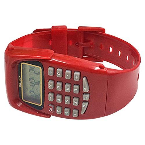 SparY Reloj de calculadora para niños multifuncional, mini regalo electrónico, fecha de examen, portátil, práctico, con pantalla digital (rojo)