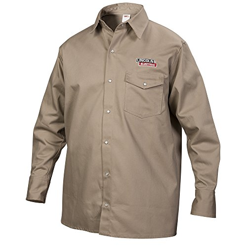 Lincoln Electric Khaki Large Flame-Resistant Cloth Welding Shirt,KH841L