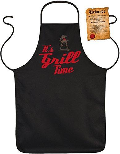 Tablier amusant avec inscription humoristique It s GRILL Time - Protection pour barbecue avec certificat amusant