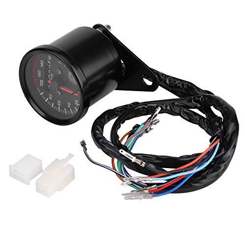 KIMISS Velocímetro universal del cuentakilómetros digital Moto, indicador de tacómetro con indicador LED(Negro)