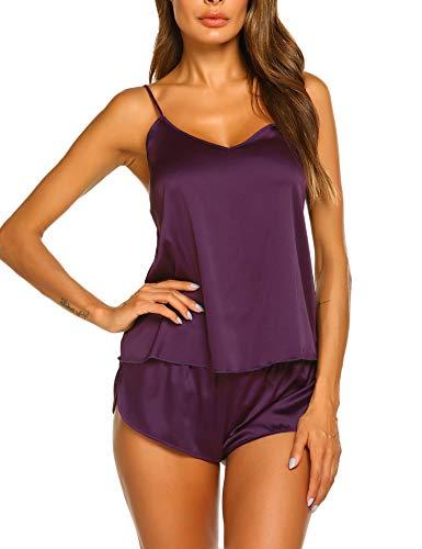 Ekouaer Sleepwear Womens Sexy Lingerie Satin Pajamas Cami Shorts Set Nightwear