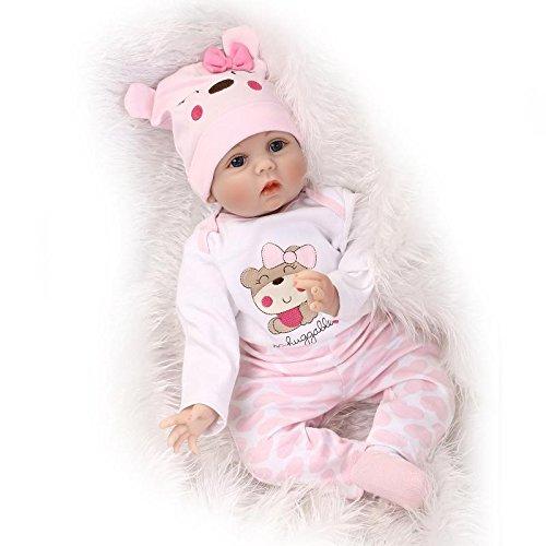 MAIDE DOLL Reborn Muñecas de bebé de Vinilo de Silicona Suave Realista Recién Panda Coat Negro Zapatos de Pantalones Nacido para niños Mayores de 3 años Juguete-55CM