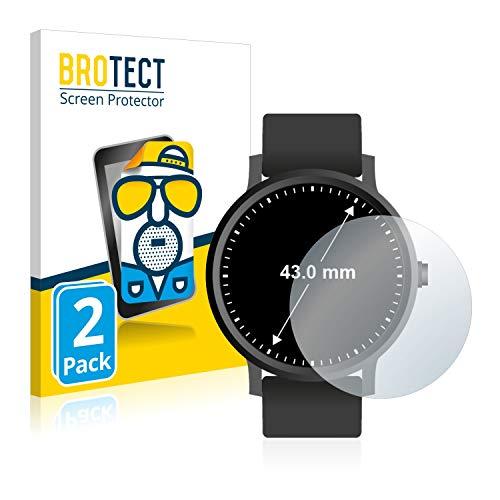 BROTECT 2X Entspiegelungs-Schutzfolie kompatibel mit Armbanduhren (Kreisrund, Durchmesser: 43 mm) Matt, Anti-Reflex, Anti-Fingerprint