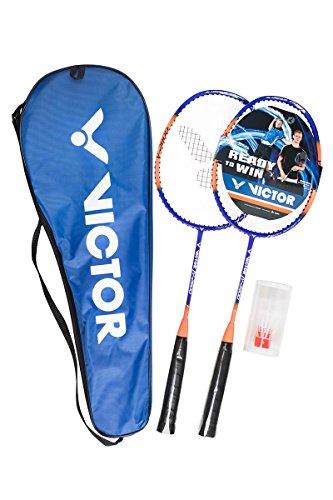 Victor Badminton-Set V-2900 Premium Kinder & Junior Set - 2 Badmintonschläger mit verkürztem Schaft & inkl. 2 robusten, windstabilen Federbällen