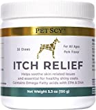 Petscy: Itch Relief Chews - Nutritional Supplement with Omega 3, Biotin, Vitamins, and Zinc for Dogs - 30 Chews - Pork Flavor - Skin and Coat Nourishment for All Ages and Breeds - Made in The USA