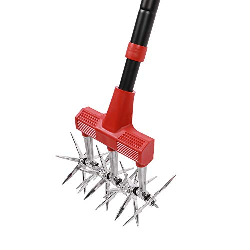 Alterra Tools Rotary Cultivator Aluminum Wheel Tines-Soft Grip Outdoor Lawn and Gardening Tools, Black, Red