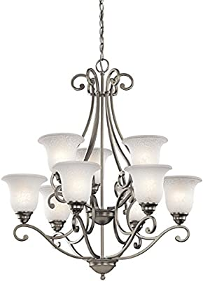 "Kichler 43226OZ Camerena Large Chandelier Lighting, Olde Bronze 9-Light (30"" W x 35"" H) 900 Watts"