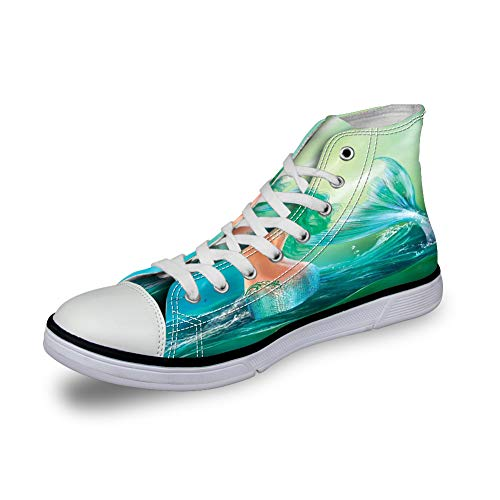 High Top Classic Casual Canvas Sneakers Lace ups Casual Walking Shoes,Mermaid in Ocean on Waves Tail Sea Creatures Dramatic Sky Dark Clouds - Womens 11