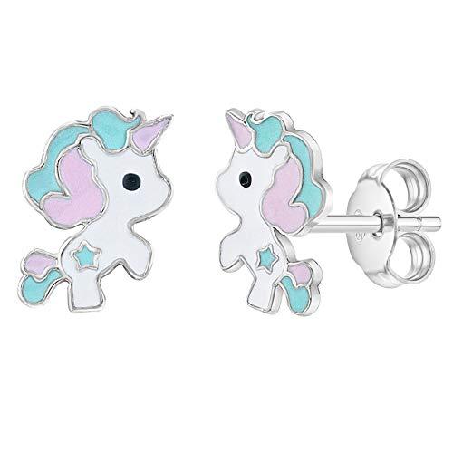 In Season Jewelry Pendientes de unicornio de plata de ley 925 con esmalte verde pastel para niñas y Preteen