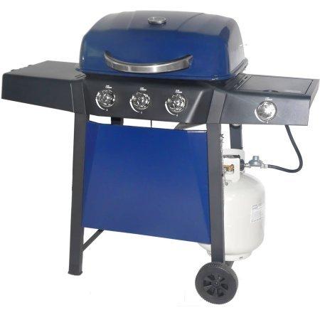 RevoAce 3-Burner LP Gas Grill with Side Burner, Blue Sapphire Grills Propane