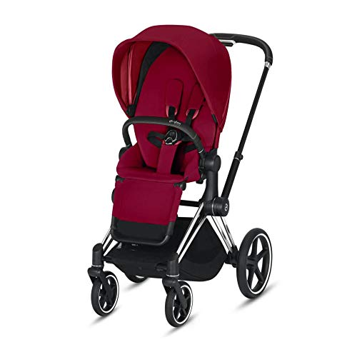 Cybex Priam 3 Complete Stroller, One-Hand Compact Fold, Lightweight, Reversible Seat, Smooth Ride All-Wheel Suspension, Extra Storage, Adjustable Leg Rest, True Red with Chrome/Black Frame