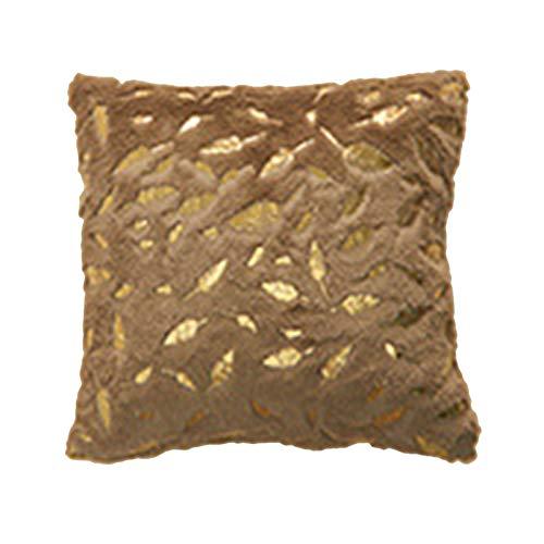 Ruby569y Funda de cojín de piel de felpa de color sólido, color dorado, 43 x 43 cm, funda de cojín suave para sofá, cama, decoración del hogar, café, color marrón