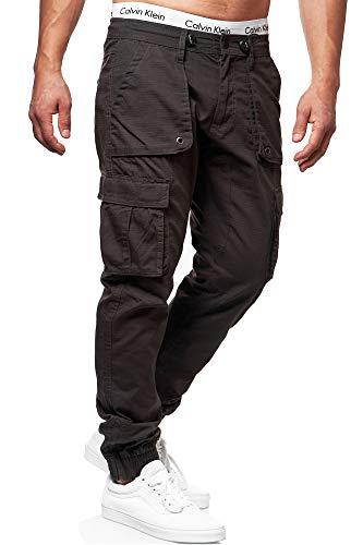 Indicode Herren Leonard Cargohose aus Baumwoll-Mix mit 6 Taschen | Lange Regular Fit Cargo Hose Herrenhose Wanderhose Trekkinghose Outdoorhose robuste Freizeithose für Männer Raven L