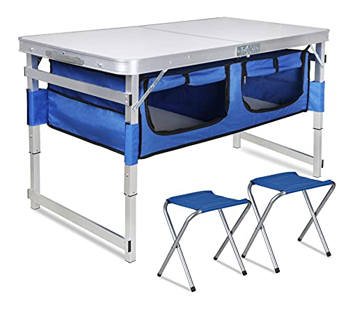 Folding Camping Table with Storage - Portable Outdoor Aluminum Picnic Tables with Organizer and 2 Chairs, 3 Adjustable Heights, Lightweight Dining Table for Camp Beach Party BBQ