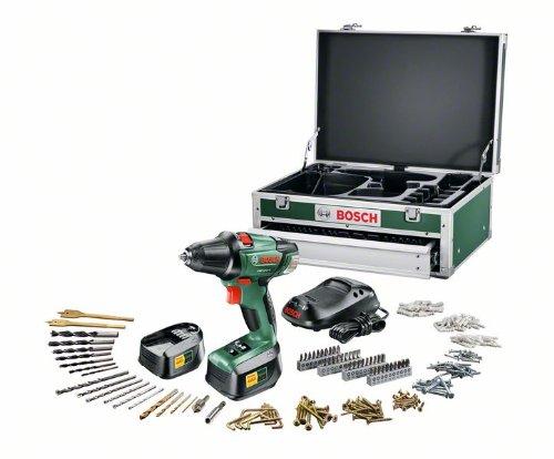"Preisvergleich Produktbild Bosch PSR 18 LI-2 Akku-Bohrschrauber ""Expert"" + 241 tlg. Zubehör-Set + Toolbox + 2 Akkus und 1-Std.-Ladegerät (18 V,  max. 46 Nm)"