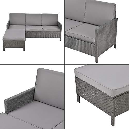 [en.casa] Gartenmöbelset Rattan 3-TLG. Rattan-Möbel Sitzgruppe Gartenlounge Loungeset Polyrattan Dunkel-/Hellgrau - 6