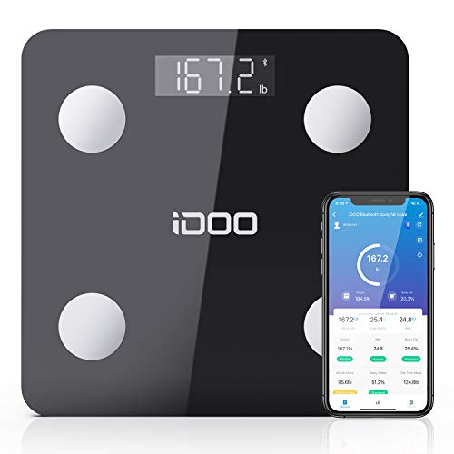 Smart BMI Scale, iDOO Bluetooth Body Fat Scale Tracks 13 Measurements, Digital Bathroom Weight Scale with Baby Mode, Body Analyzer for Weight, Body Fat, Muscle Mass, BMI, Water, 396lbs