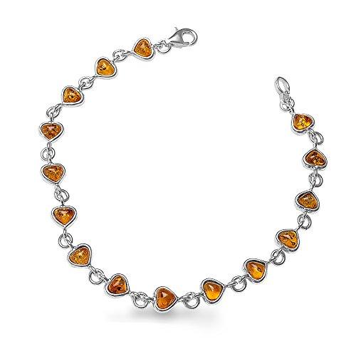 925 Silberarmband Bernsteinarmband 100% Natur Bernstein Armband Jeder Armband Unikat Top Qualität #1480 (Herz Honig)