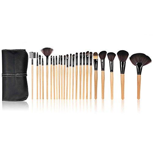 Anself - Ensemble de pinceaux professionnels pour le maquillage 24 pièces + sac, couleur noire