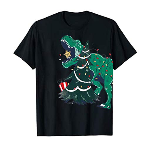 Meikosks Christmas Funny Print Tops Womens Dinosaur T Shirt Short Sleeve Casual Blouses Black