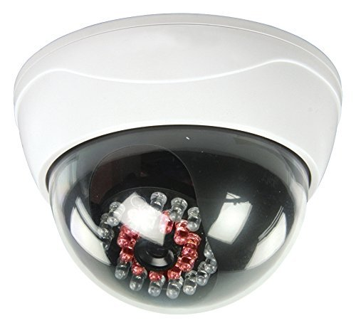 Eurosell KAMERAATTRAPPE IP44 Profi Dome Kamera Dummy mit leuchtenden IR LEDs LED Überwachungskamera Attrappe Aussenbereich Kameraatrappe Innen Außen Fake Überwachung Haus Sicherheit Security