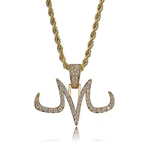 MKHDD Personaggio Hip Hop Dragon Ball Devil Buu Tattoo Logo M Pendente Collana Iced out Full Zircon Rapper Jewelry for Men,Gold
