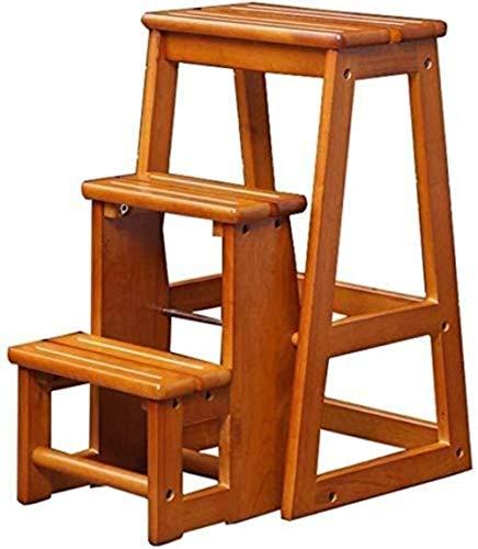 Escalera de paso transformable escalera plegable con 3 pasos / silla de madera Taburete de escalera con taburete de madera Taburete de escalera extendida for trabajos pesados de servicio pesado Máxi
