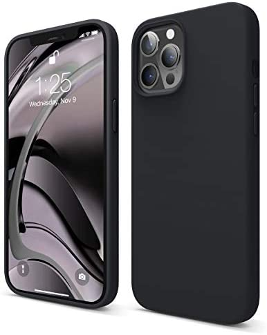 "elago Liquid Silicone Case Designed for iPhone 12 Pro Max Case (6.7""), Premium Silicone, Full Body Protection : 3 Layer Shockproof Cover Case (Black)"