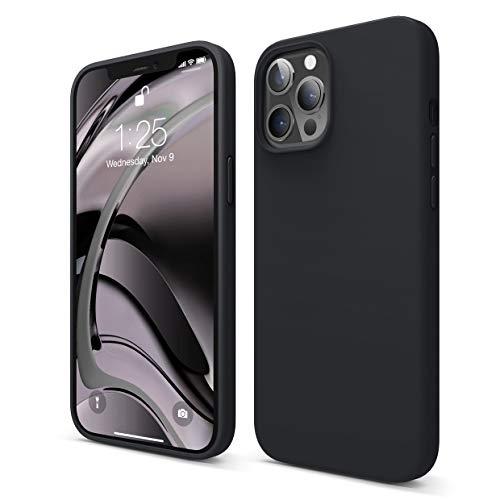 """Elago Silicone Liquido Custodia Cover Compatibile con iPhone 12 PRO Max Case (6.7""""), Silicone Liquido Premium, Protezione Full Body : Case Antiurto 3 Strati (Nero)"""