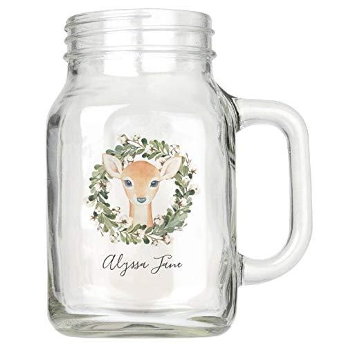 Mason Jar tazas con asas, corona de invierno de ciervo botánico de vacaciones, jarrón de madera de masón, vasos de cristal reutilizables para aniversario de casa, 473 ml
