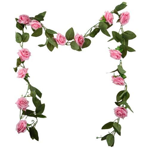 FS 6ft (183cm) Artificial Rose Flower Garland - Wedding Trellis Garden (Pink)