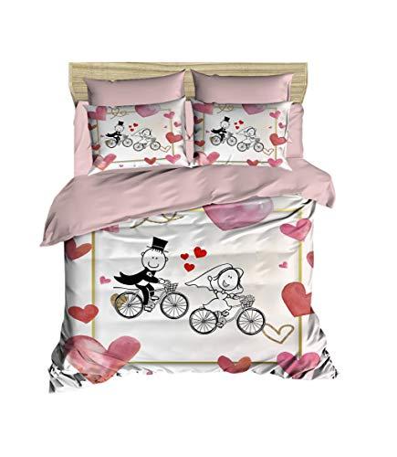 3D Braut Bettbezug Set | Double Duvet Cover Set |% 100 Baumwolle | 200x220 Double | 4er Set Bettwäscheset mit Bettbezug, Laken und Kissenbezug | 4 in 1 with Duvet Cover, Sheet and Pillow Covers