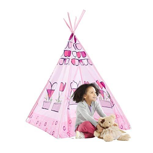 Tiendas infantiles La tienda del juego for los niños tipi indio juego Casa algodón de los niños Tipi Tent interior regalos al aire libre for las muchachas Princesa rosada Carpa Tiendas de tunel