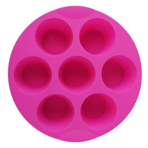 Shebaking 7 Cavity Silicone Muffin Pans Nonstick Brownie Cake Mold Round Pudding Cupcake Recipe Tray Bakeware, Rose