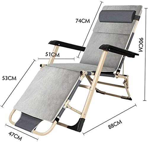 Classic Lounge Chairs Sun Lounger/Sun Lounger Chair, Zero Gravity Outdoor Recliners Chair Beach Lawn Camping Portable Heavy People Patio Folding Lounger Chair (Color : No pad) 【Upgrade】