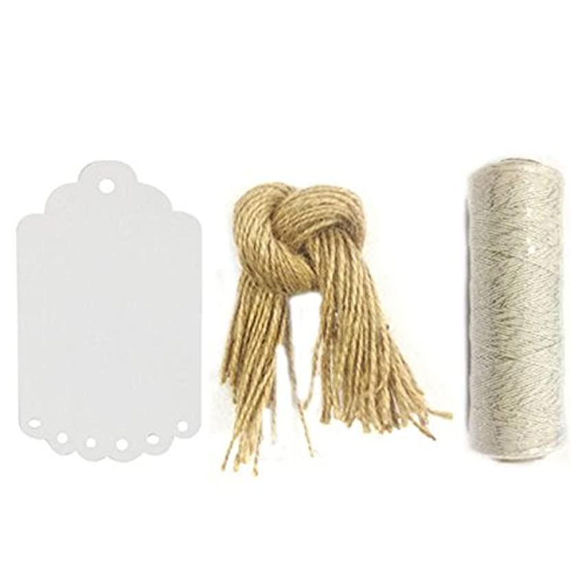 Wrapables 50 Gift Tags/Kraft Scalloped Edge Hang Tags with Free Cut Strings and 4ply 110-Yard Cotton Baker's Twine, Metallic Silver