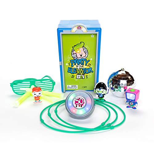 FGTeeV Party in The Elevator, Colors May Vary, Unique Family Fun Figures, Neon Glasses, Glow in The Dark Necklace and Stickers, Glow Sticks, Disco Ball, UV Light, Elevator Music Button, UNbox