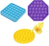 [3-Pack] Push Pop Bubble Sensory Fidget Toy Autism Special Needs Stress Reliever Toys Silicone Squeeze Sensory Toy for Kids Adults (Blue-Purple-Orange)